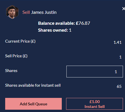 Selling a Player on Football INdex